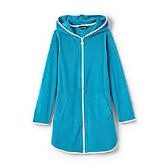 Lands' End - Girls' blue  terry hooded cover-up