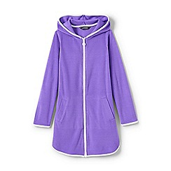 Lands' End - Girls' Purple  terry hooded cover-up