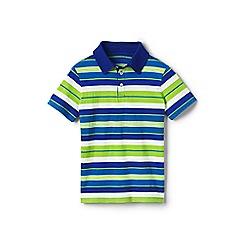 Lands' End - Green boys' striped jersey polo shirt