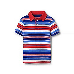 Lands' End - Red boys' striped jersey polo shirt