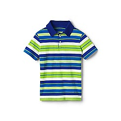 Lands' End - Green boys' striped jersey polo shirt