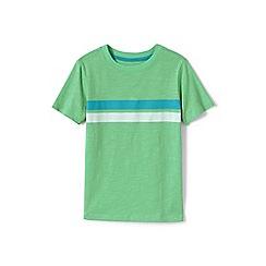 Lands' End - Boys' Green toddler  chest stripe t-shirt