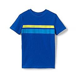 Lands' End - Blue Boys' Chest Stripe Pure Cotton T-shirt