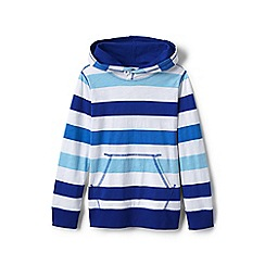 Lands' End - Blue boys' slub jersey striped pullover hoodie