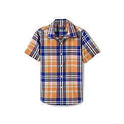 Lands' End - Orange boys' checked short sleeve shirt