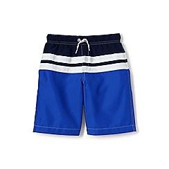 Lands' End - Boys' Blue  colourblock stripe swim shorts