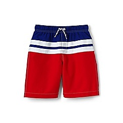 Lands' End - Orange boys' colour block stripe swim shorts