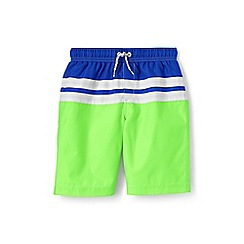 Lands' End - Boys' Green  colourblock stripe swim shorts