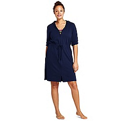 Lands' End - Blue plus hooded roll sleeve beach cover-up