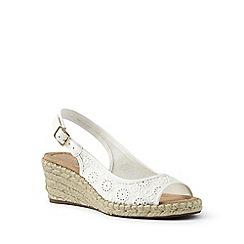 Lands' End - White wide espadrille wedge sandals