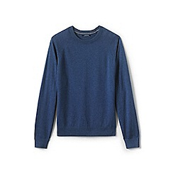 Lands' End - Blue cotton blend crew neck jumper