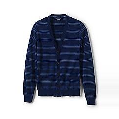 Lands' End - Navy birdseye stripe fine gauge cotton cardigan