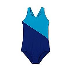 Lands' End - Girls' Blue  smart swim colourblock swimsuit