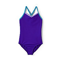 Lands' End - Girls' Purple  smart swim strappy swimsuit
