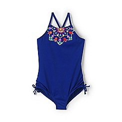 Lands' End - Blue girls' graphic bow swimsuit