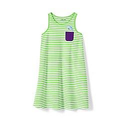 Lands' End - Green toddler girls' vest dress with graphic pocket