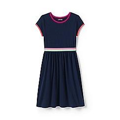Lands' End - Girls' Blue  short sleeve dress, colourblock cotton jersey