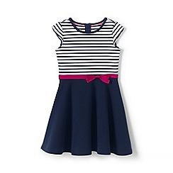 Lands' End - Girls' Blue toddler  skater dress in ponte jersey