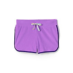 Lands' End - Purple girls' towelling beach shorts