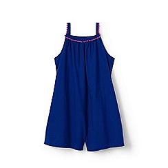 Lands' End - Blue toddler girls' playsuit with embroidered trim