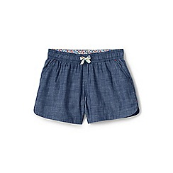 Lands' End - Blue girls' chambray pull-on shorts