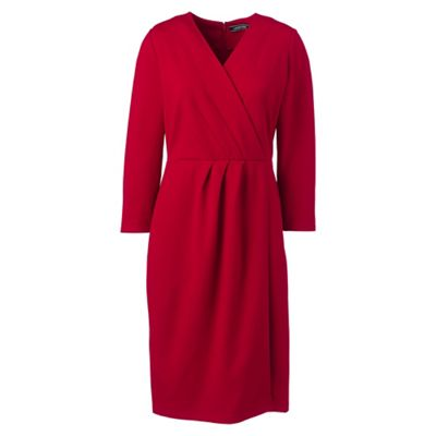 Lands' End   Red Three Quarter Sleeve Ponte Wrap Dress by Lands' End