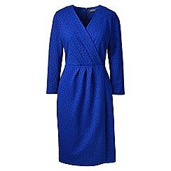 Lands' End - Blue slim floral pattern ponte wrap dress