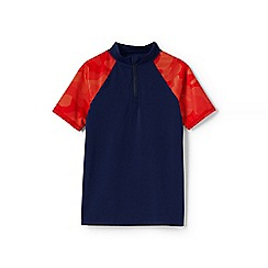 Lands' End - Boys' Blue  zip-neck rash vest