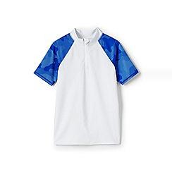 Lands' End - Boys' White  zip-neck rash vest