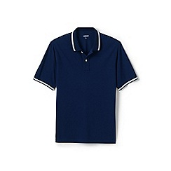 Lands' End - Navy tipped stretch pique polo shirt