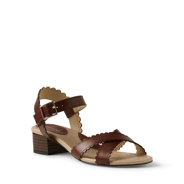 sandals End Lands' block Brown scalloped heel U8U6FwOq