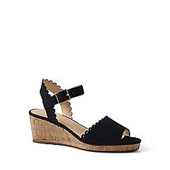 Lands' End - Black scalloped wedge sandals