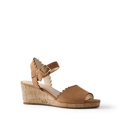 Lands' End - Brown scalloped wedge sandals