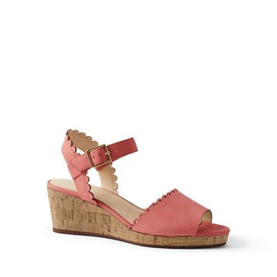 Lands' End - Pink scalloped wedge sandals