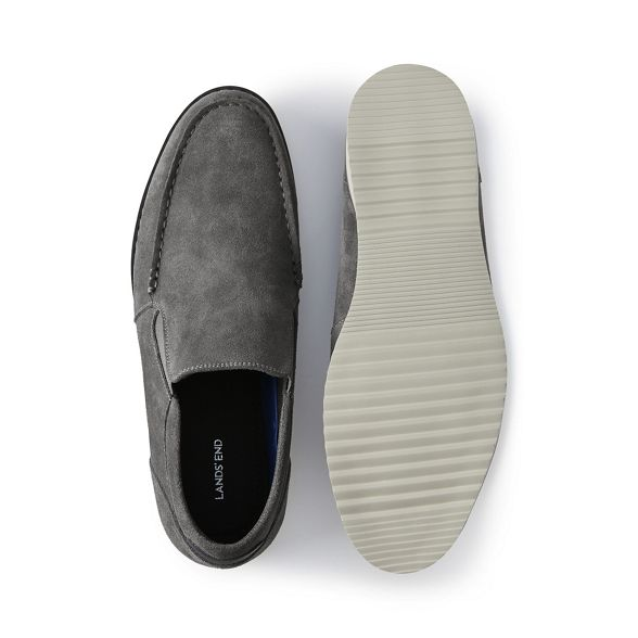 Lands' End loafers Grey comfort suede casual 876gq8Aa