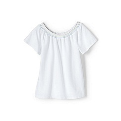 Lands' End - White girls' gathered neck top