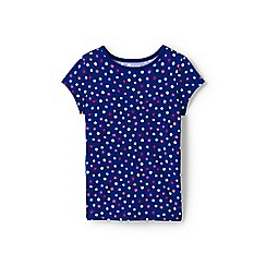 Lands' End - Blue girls' core crewneck pattern t-shirt