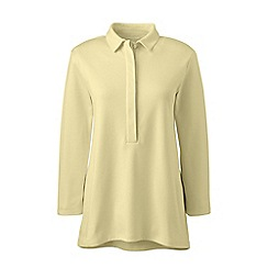 Lands' End - Yellow elbow-sleeves pima polo shirt
