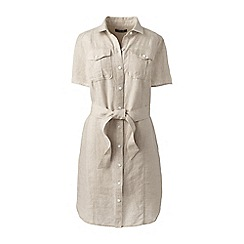 Lands' End - Beige womens utility linen shirt dress