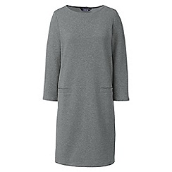 Lands' End - Grey womens 3-quarter sleeve ponte shift dress