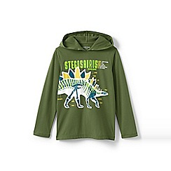 Lands' End - Boys' Green  hooded graphic t-shirt