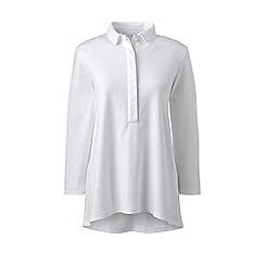 Lands\u0027 End - White petite three-quarter length sleeve pima polo shirt