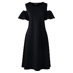 Lands' End - Black womens cold shoulder a-line ponte dress