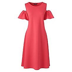 Lands' End - Red womens cold shoulder a-line ponte dress