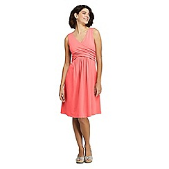 Lands' End - Orange Women's Sleeveless Fit And Flare Dress