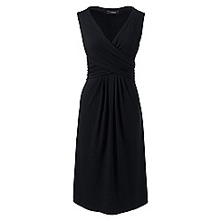 Lands' End - Black womens sleevesless fit and flare dress