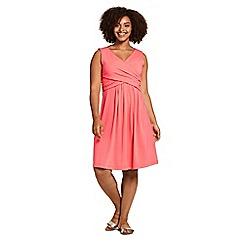 Lands' End - Orange Womens Plus Plain Sleeveless Fit and Flare Dress