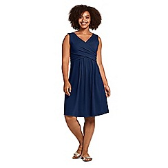 Lands' End - Blue Womens Plus Plain Sleeveless Fit and Flare Dress