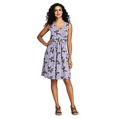 Lands' End - Purple Women's Sleeveless Fit And Flare Patterned Dress