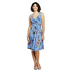 Lands' End - Blue Womens Petite Sleeveless Fit and Flare Patterned Dress